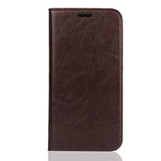 Leather Case Stands Flip Cover U01 Holder for Huawei Enjoy 8S Brown