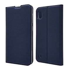 Leather Case Stands Flip Cover U01 Holder for Samsung Galaxy A10 Blue