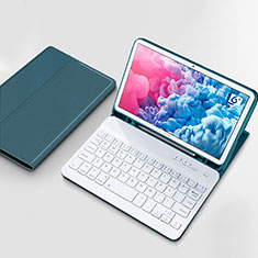 Leather Case Stands Flip Cover with Keyboard for Huawei MatePad 10.8 Cyan