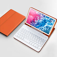 Leather Case Stands Flip Cover with Keyboard for Huawei MatePad 10.8 Orange