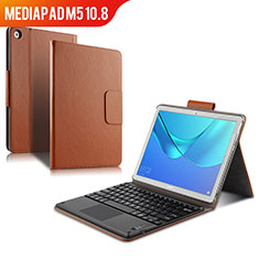 Leather Case Stands Flip Cover with Keyboard for Huawei MediaPad M5 10.8 Brown