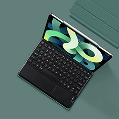 Leather Case Stands Flip Cover with Keyboard K01 for Apple iPad Air 4 10.9 (2020) Midnight Green