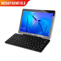 Leather Case Stands Flip Cover with Keyboard L01 for Huawei MediaPad M5 10.8 Black