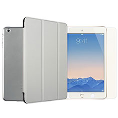 Leather Case Stands Flip Cover with Tempered Glass Screen Protector for Apple iPad Mini 2 Silver