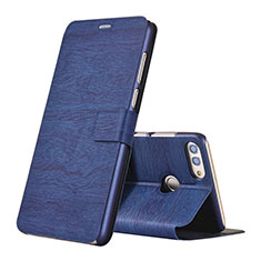 Leather Case Stands Flip Holder Cover for Huawei Enjoy 8 Plus Blue