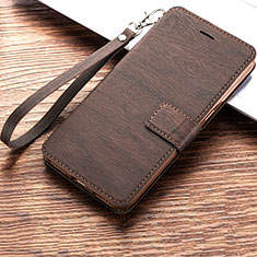 Leather Case Stands Flip Holder Cover for Huawei Y6 (2019) Brown
