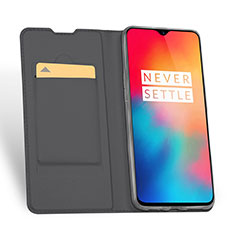 Leather Case Stands Flip Holder Cover for OnePlus 6T Gray