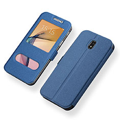 Leather Case Stands Flip Holder Cover for Samsung Galaxy J5 (2017) SM-J750F Blue