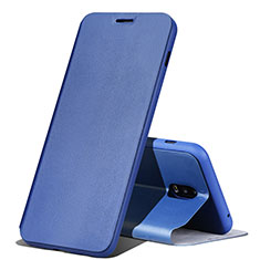 Leather Case Stands Flip Holder Cover for Samsung Galaxy J7 Plus Blue