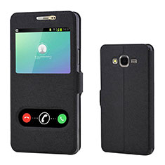 Leather Case Stands Flip Holder Cover for Samsung Galaxy On7 Pro Black