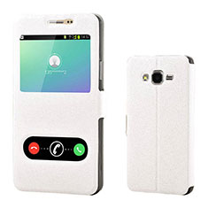 Leather Case Stands Flip Holder Cover for Samsung Galaxy On7 Pro White