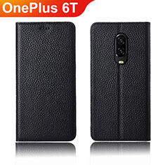 Leather Case Stands Flip Holder Cover L01 for OnePlus 6T Black