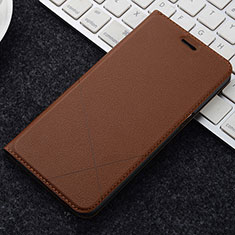 Leather Case Stands Flip Holder Cover L04 for OnePlus 5T A5010 Brown