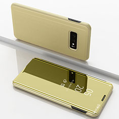 Leather Case Stands Flip Holder Mirror Cover for Samsung Galaxy S10e Gold