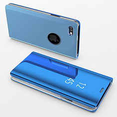 Leather Case Stands Flip Mirror Cover Holder for Apple iPhone 6S Plus Blue