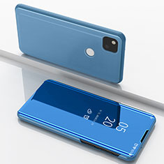 Leather Case Stands Flip Mirror Cover Holder for Google Pixel 4a Blue