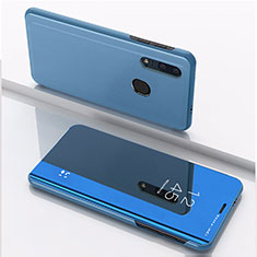 Leather Case Stands Flip Mirror Cover Holder for Huawei Enjoy 9s Blue