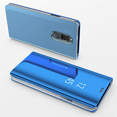 Leather Case Stands Flip Mirror Cover Holder for Huawei G10 Blue