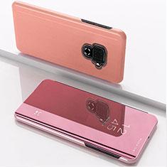 Leather Case Stands Flip Mirror Cover Holder for Huawei Nova 5z Rose Gold