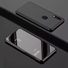 Leather Case Stands Flip Mirror Cover Holder for Huawei Y7 Pro (2019) Black