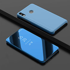 Leather Case Stands Flip Mirror Cover Holder for Huawei Y9 (2019) Blue