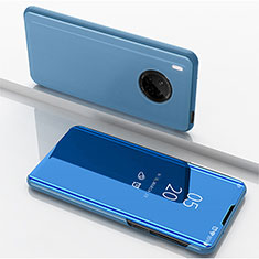 Leather Case Stands Flip Mirror Cover Holder for Huawei Y9a Blue