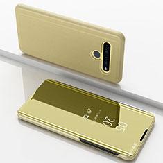 Leather Case Stands Flip Mirror Cover Holder for LG K61 Gold