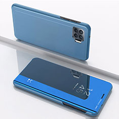 Leather Case Stands Flip Mirror Cover Holder for Oppo Reno4 F Blue