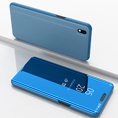 Leather Case Stands Flip Mirror Cover Holder for Samsung Galaxy A10 Blue