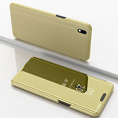 Leather Case Stands Flip Mirror Cover Holder for Samsung Galaxy A10 Gold