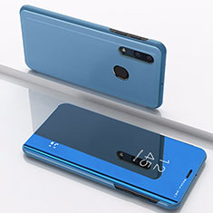 Leather Case Stands Flip Mirror Cover Holder for Samsung Galaxy A30 Blue