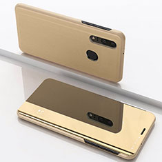 Leather Case Stands Flip Mirror Cover Holder for Samsung Galaxy A40 Gold