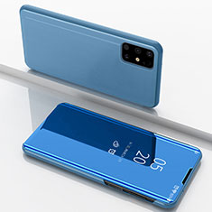 Leather Case Stands Flip Mirror Cover Holder for Samsung Galaxy M51 Blue