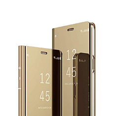Leather Case Stands Flip Mirror Cover Holder for Sony Xperia 1 Gold
