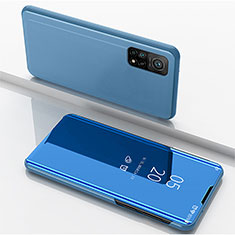 Leather Case Stands Flip Mirror Cover Holder for Xiaomi Mi 10T Pro 5G Blue