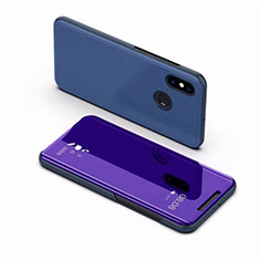 Leather Case Stands Flip Mirror Cover Holder for Xiaomi Mi 8 Blue