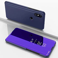 Leather Case Stands Flip Mirror Cover Holder for Xiaomi Mi Mix 3 Blue