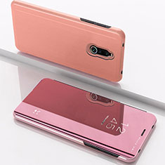 Leather Case Stands Flip Mirror Cover Holder for Xiaomi Redmi 8 Rose Gold