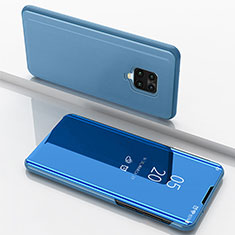 Leather Case Stands Flip Mirror Cover Holder for Xiaomi Redmi Note 9 Pro Blue