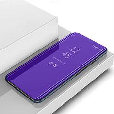 Leather Case Stands Flip Mirror Cover Holder L01 for Motorola Moto G8 Plus Purple