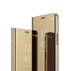 Leather Case Stands Flip Mirror Cover Holder L01 for Oppo Reno4 5G Gold