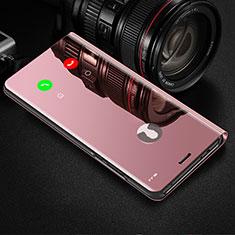 Leather Case Stands Flip Mirror Cover Holder L01 for Vivo V20 Rose Gold