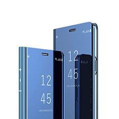 Leather Case Stands Flip Mirror Cover Holder L01 for Vivo X50 Lite Blue