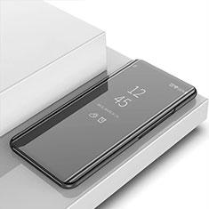 Leather Case Stands Flip Mirror Cover Holder L01 for Xiaomi Redmi Note 9 Black