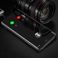 Leather Case Stands Flip Mirror Cover Holder L01 for Xiaomi Redmi Note 9 Pro Black
