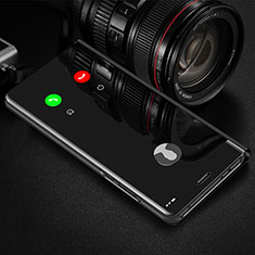 Leather Case Stands Flip Mirror Cover Holder L01 for Xiaomi Redmi Note 9 Pro Max Black