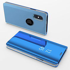 Leather Case Stands Flip Mirror Cover Holder L02 for Apple iPhone X Blue