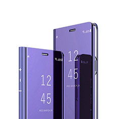 Leather Case Stands Flip Mirror Cover Holder L02 for Google Pixel 4a Purple