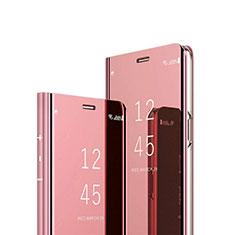 Leather Case Stands Flip Mirror Cover Holder L02 for Google Pixel 4a Rose Gold