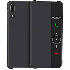 Leather Case Stands Flip Mirror Cover Holder L02 for Huawei P20 Black
